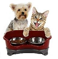 CXYP ペット用食器  こぼれ落ち防止 子犬 猫 エサ入れ 食器 フード 水  スタンド & ボウル セット 皿 ペットボウル  滑り止め ステンレス鋼製 (レッド)