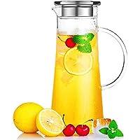 susteas 耐熱ガラスポット 麦茶ポット ガラスポット 耐熱 1.5リットル 麦茶 冷蔵庫 直火 水出し 茶ポット 冷水筒 麦茶ポット ガラスピッチャー 1500ml
