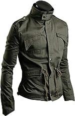 KMAZN メンズ ミリタリー ライダース ジャケット ウィンドブレーカー エポレット おしゃれ 長袖 防風 大きいサイズ 黒 緑 ジャンパー アウター