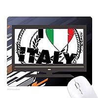 私はイタリア語フラグラブハート柄が好きです ノンスリップラバーマウスパッドはコンピュータゲームのオフィス