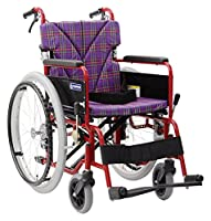 【非課税】カワムラサイクル ベーシックモジュール車いす エアタイヤ仕様 バンドブレーキ シート幅40cm 中床22インチ レッド×紫チェック (BM22-40SB-Mレッド×A11) [自走・介助兼用]