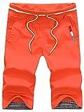 【シャルフィール】 ハーフパンツ ショートパンツ 短パン 無地 カジュアル ボトムス メンズ ウェア (XL, オレンジ)