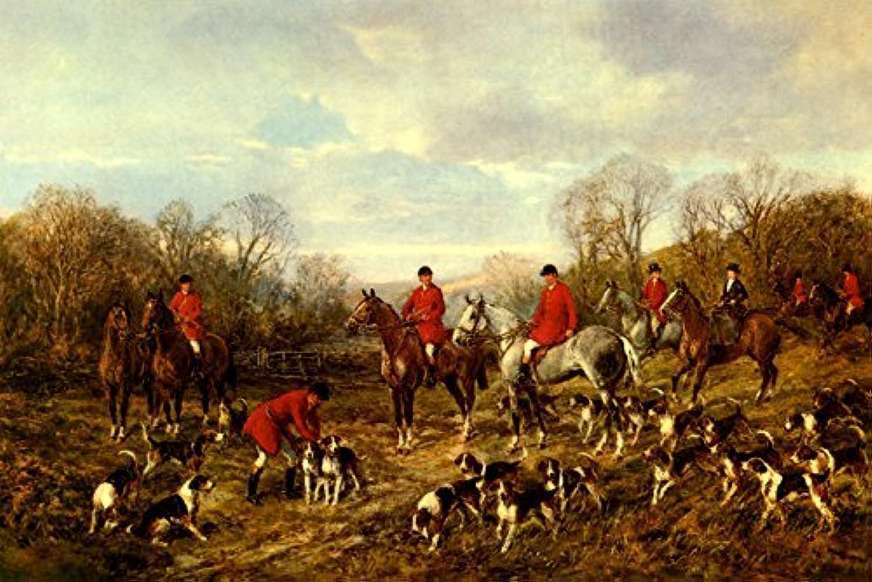 秋会議英語HuntersフィールドハンターHorses Foxhound犬Painting by Heywood Hardyイメージサイズ16