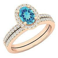 14Kローズゴールド楕円形宝石用原石&ラウンドホワイトダイヤモンドレディースブライダルヘイロー婚約リングセット