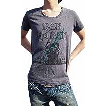 こいつは革命です BUY OR DIE ハードロック古着とは一線を画す 現代版スタイリッシュ メイデンUネックTシャツ IRON MAIDEN アイアン・メイデン PAINT MAIDEN (S, MELANGEBLACK)