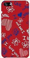 ohama iPhone 5s アイフォン ハードケース ca541-1 イラスト 落書き 蝶 ハート レッド スマホ ケース スマートフォン カバー カスタム ジャケット au softbank docomo