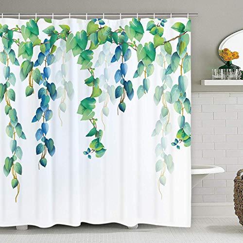 12フック付き緑大根葉シャワーカーテン、緑植物デザインシャワ...