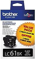 2x Brother lc61bk22- Packインクカートリッジ, 500ページ印刷可、ブラック