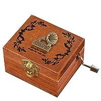 Pongapsクラシック絶妙なスクエア木製ハンドクランク絶妙なレトロオルゴールギフトミュージカルボックス&置物