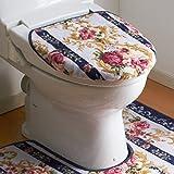 【日本製】洗える 抗菌防臭 トイレふたカバー 特殊型 【洗浄・暖房型便座用】 マリア ブルー