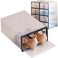 【8箱入り】女性用シューズボックス枠付き 【ブラック】 透明クリアーケース