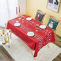 防水テーブルクロスフェスティバルテーブルマットコットンとリネン生地長方形のテーブルカバータオルパッドテーブルクロスコーヒーテーブルクロス(色:赤、サイズ:140 * 140cm)