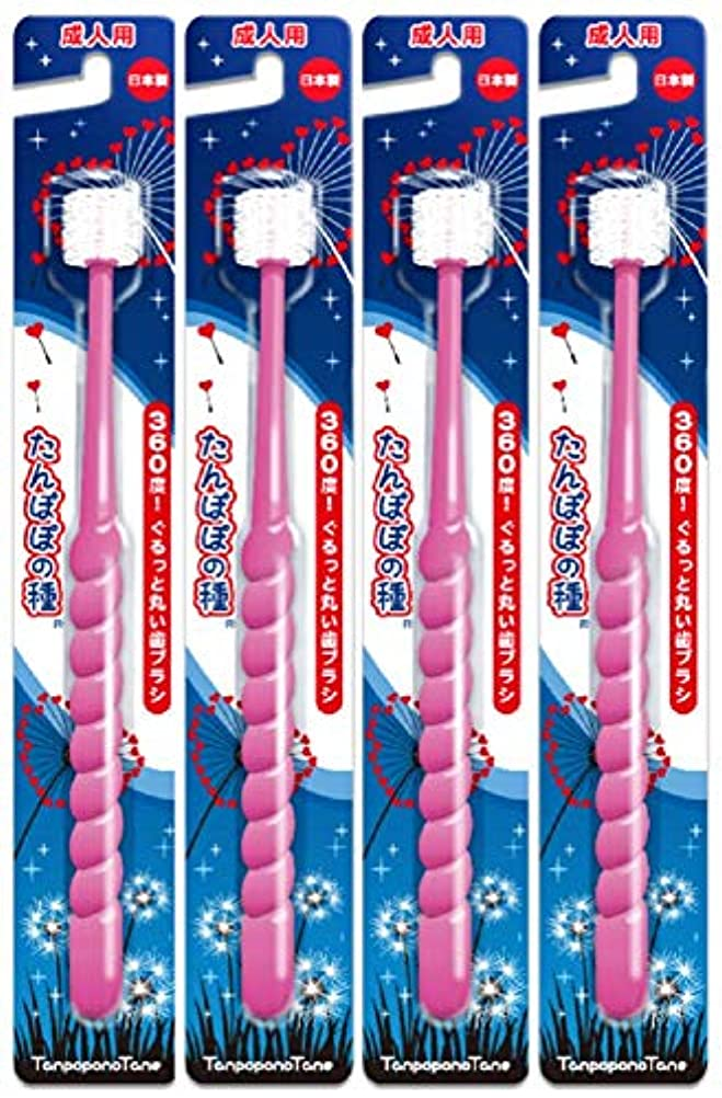 たんぽぽの種 360度ぐるっと丸い歯ブラシ 極細毛 (成人用 ピンク4本セット)