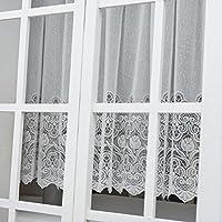 ユイツ フラワーミラーレースカーテン 小窓用 出窓用スタイルカーテン アイボリー色 1枚 幅200cmx丈80cm