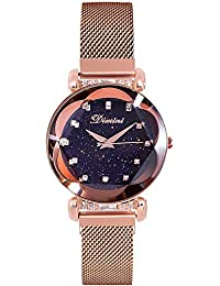 RORIOS 女性 腕時計 レディース 星空 キラキラ アナログウォッチ 腕時計 ファッション ウォッチ シンプル かわいい 磁気メッシュバンド ローズゴールド