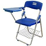 マルマル.モリモリ サイドテーブル 付き パイプ椅子 折りたたみ式 テーブル 一体型 パイプ椅子 足元 収納カゴ 付き 講義 会議 サミット (ブルー)
