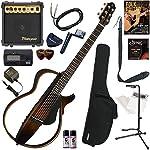 YAMAHA サイレントギター 初心者 入門 細めのネック形状に、弦長634mmスケールを採用。SRTパワードピックアップシステムを搭載したスチール弦モデル すぐに始められるスタンダード16点セット SLG200S/TBS(タバコブラウンサンバースト)