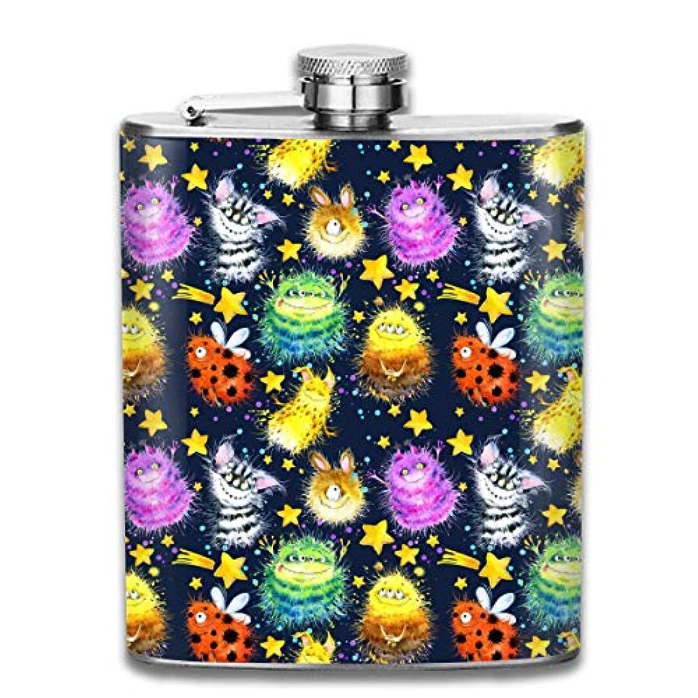 一般的に言えば句初心者かわいいモンスターフラスコ スキットル ヒップフラスコ 7オンス 206ml 高品質ステンレス製 ウイスキー アルコール 清酒 携帯 ボトル