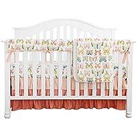 ピーチバタフライ花柄フリルベビーMinky毛布水カラー、コーラルフローラルNursery CribスカートセットベビーガールズCrib Bedding
