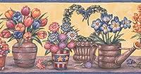"""イエローブルーピンクオレンジフラワーinポットフローラル壁紙ボーダーレトロデザイン、ロール15' x 4"""""""