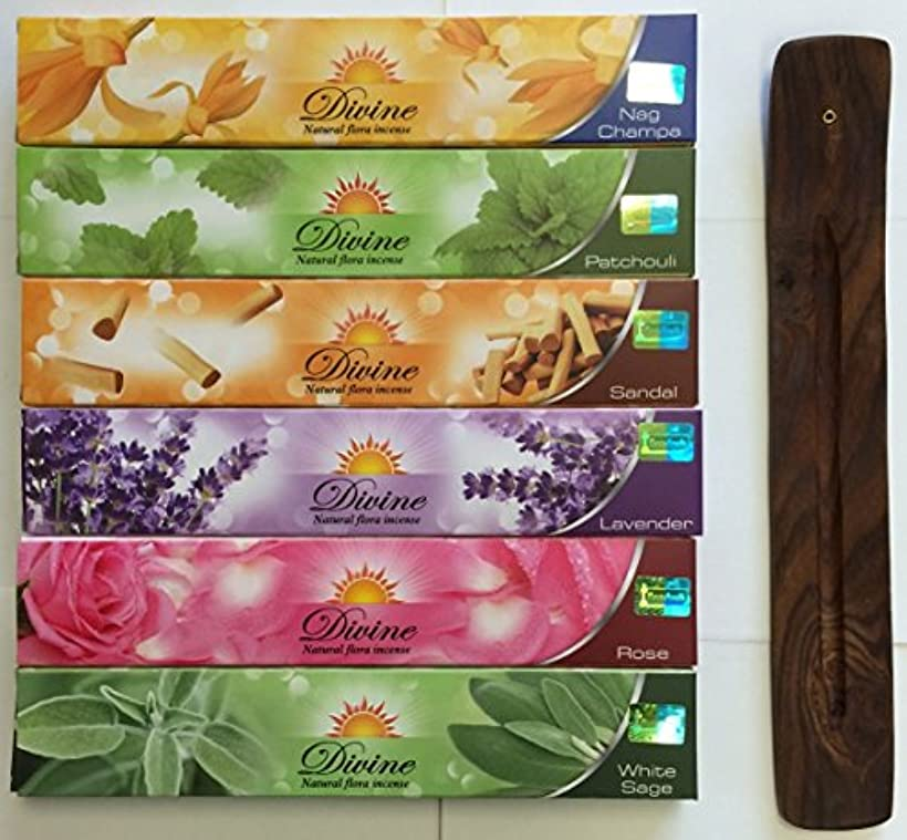 コマース亡命テザーGift Set of 6 Nag Champa Sandalwood Patchouli Rose Lavender and White Sage Incense Kit(incense Holder Included...