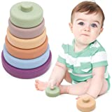 Stacking Rings 6pc Baby Soft Building Rings Stacker –Early Educational Develop Montessori Toys for Infants-100% Safe Silicone