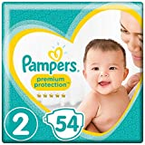 Pampers Premium Protection, Size 2 Newborn (4kg-8kg), 54 Nappies, For unbeatable skin protection
