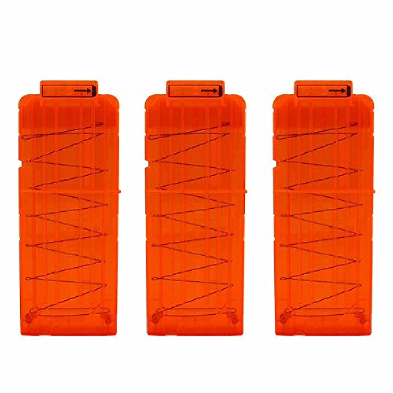 EKIND 弾丸クリップ、3つのソフトのクリップ、12 - ダーツ弾薬クリップ、ポイントでNerfのおもちゃにクリップ、子供のおもちゃの銃 - 透明オレンジ