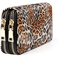 QUARKERA Double Zipper Cheetah Wallet for Woman Ladies Leopard Animal Print Travel Purse with Multiple Card Slots