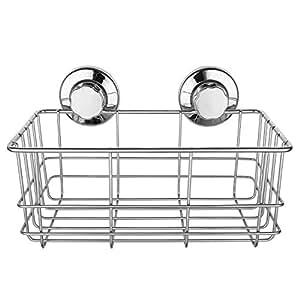 SANNO 真空吸着 強力 吸盤 ラック シャワーキャディー 錆びにくいステンレス キッチン 収納ラック お水切り バスラック キッチン用品 浴室用品 洗面所 お風呂 壁に穴を開けない