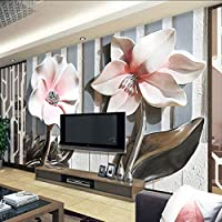 Lixiaoer カスタム壁画壁紙現代の3D立体レリーフフラワーリビングルームテレビの背景壁の装飾壁絵画家の装飾-400X280Cm