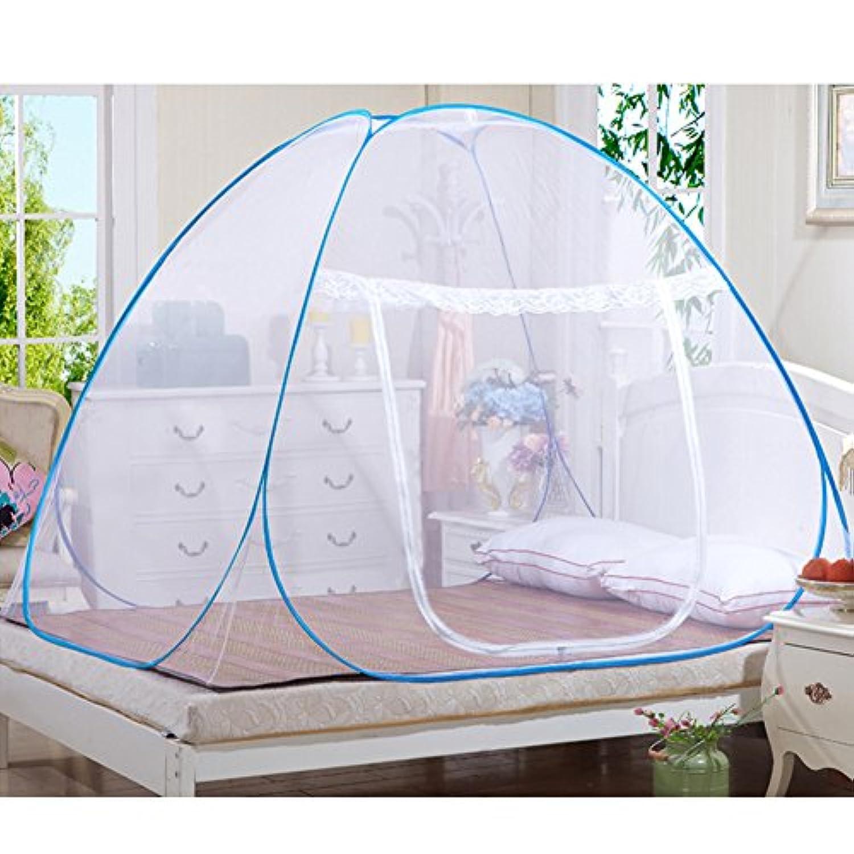 ANPI ワンタッチ 蚊帳 底生地付き パオ テント式 折り畳み 単ドア ジッパー 赤ちゃん 大人 兼用 ムカデ ゴキブリ 虫 蚊 対策 モスキートネット 二つサイズ 、150*200*150cm