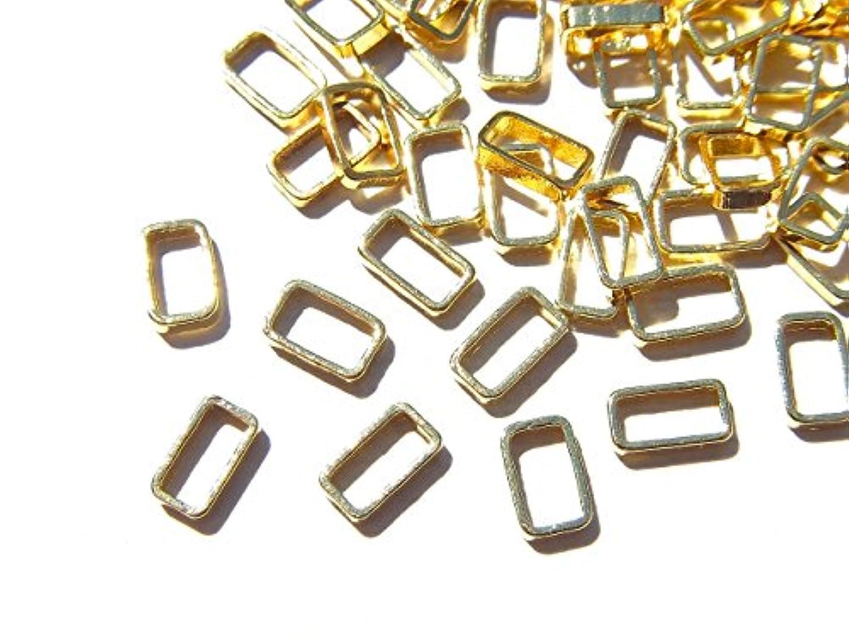 から厚さ便利さ【jewel】ゴールド 立体メタルパーツ 10個入り レクタングル 型 (長方形) 直径5mm 厚み1mm 手芸 材料 レジン ネイルアート パーツ 素材