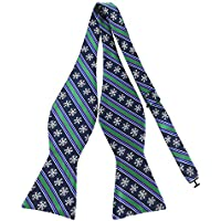 Mens Holiday Christmas Striped Print Pattern Bow Tie Self Bowtie