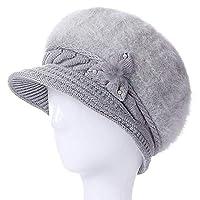 XJDMG ニット帽ウールキャップビーニーハット ファッション女性帽子女性冬花帽子パールSkulliesニット毛皮の帽子暖かい冬バイザーウサギの毛皮の帽子