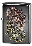 ZIPPO(ジッポー) ライター ブラック ラッキーチャーム ゲッコー メタル貼り 片面加工 ブラックニッケル