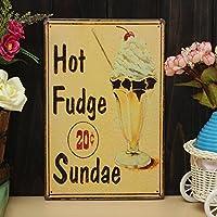 Bazaar Hot Fudge SundaesシートIron図面メタルペイントTinカフェパブ壁ポスターサイン