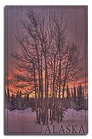 アラスカ–ツリーで雪 10 x 15 Wood Sign LANT-48214-10x15W