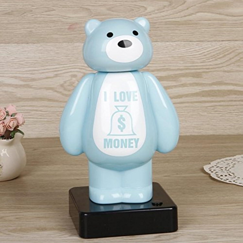 HuaQingPiJu-JP 照明ベアーピギーバンク革新的な多機能貯金大人のためのギフト子供(青)