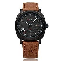 BINZI CURREN ファッション品質 革バンド腕時計 選べる 2 色 ユニセックス 常生活防水 バッテリー内蔵