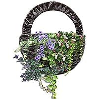 かご 天然素材 籐 プチバスケット バスケット 壁掛け ハンドル付き 持ち手付 インテリア 花かご プリザーブドフラワー 小物入れ
