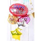 風船 浮かせてお届け ヘリウムガス入り HAPPY BIRTHDAYのふきだし バルーン 星の色 白と紫 誕生日 飾り付け バルーン電報