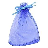 500枚 30x40cm 巾着袋 ギフト袋 保存袋 ラッピング袋 プレゼント袋 包装 ポーチ オーガンジー ソフトバッグ セット ジュエリー バッグ プレゼント袋 ギフトバッグ 15種類の色選択 (ブルー)