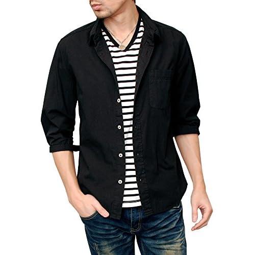 (ハイクオリティプロダクト) High quality product メンズ ブロード7分袖シャツ 綿 カラーシャツ キレイ目 定番シャツ 無地 スリム カジュアル ドレス 白シャツ コットンシャツ