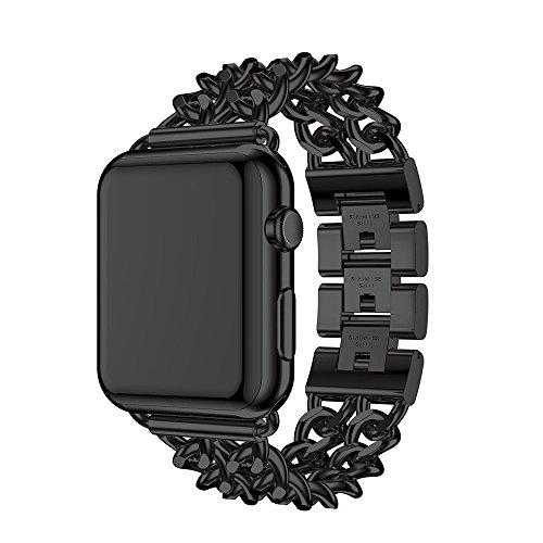アップルウォッチバンド Wollpo® Apple Watch バン 金属 ベルト Apple Watch に専用 バンド ステンレス アップルウォッチ 交換バンド ステンレス留め金製 (ステンレス チェーン, 黒38mm)