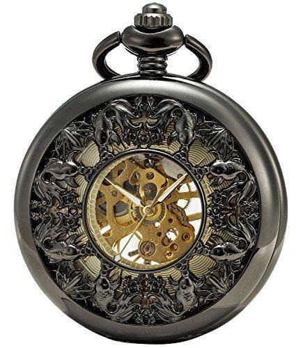 [해외]Sewor 해골 포켓 회중 시계 비단 잉어 태엽 기계식 가죽 선물 상자/Sewor skeleton pocket pocket watch Nishikigo hand-rolled mechanical leather gift box