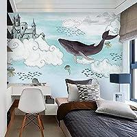 ホエールキッズベッドルームカートン壁紙壁画テレビの背景壁装飾壁画壁画紙 (H)300*(W)210cm A