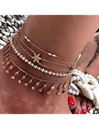 Anglacesmade Bohemia Crystal Disc Tassel Anklet Set Diamond-studded Flower Beaded Foot Chain 4Pcs Boho Wrist Bracelet Chain Beach Foot Jewelry for Women and Girls