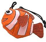 エコバッグ 折たたみ コンパクト (スーパー コンビニ サイズ)携帯 収納 袋 も かわいい さかな オレンジ