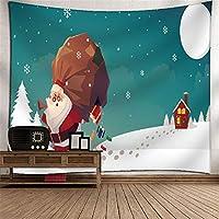 タペストリー、 冬時間クリスマスイブの家の装飾壁アートクリスマスツリータペストリー壁掛けアートセットホーム 多機能ブランケット (色 : A3, サイズ : 150*130cm)